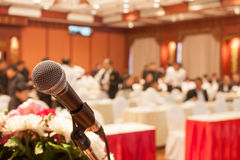Conference hall microphone Stock Photography