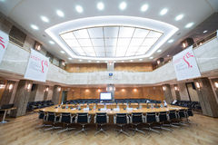 Conference hall of Moscow Stock Exchange. MOSCOW - APR 17: Conference hall of Moscow Stock Exchange on April 17, 2013 in Moscow, Russia stock photography