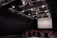 Conference hall with red chairs royalty free stock photo