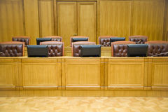Conference halls with leather armchairs and tables Royalty Free Stock Photos