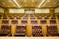 Conference halls with leather armchairs and tables Royalty Free Stock Photo