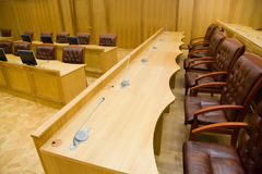 Conference halls with leather armchairs and tables Stock Photo