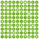 100 conference icons hexagon green. 100 conference icons set in green hexagon isolated vector illustration Royalty Free Stock Images