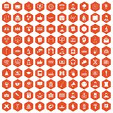 100 conference icons hexagon orange. 100 conference icons set in orange hexagon isolated vector illustration Royalty Free Illustration