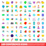 100 conference icons set, cartoon style. 100 conference icons set in cartoon style for any design vector illustration Royalty Free Stock Image