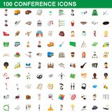 100 conference icons set, cartoon style. 100 conference icons set in cartoon style for any design illustration stock illustration