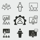 Conference icons set. Conference vector icons set. White illustration isolated for graphic and web design Royalty Free Stock Photos