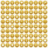 100 conference icons set gold. 100 conference icons set in gold circle isolated on white vectr illustration royalty free illustration