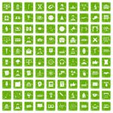 100 conference icons set grunge green. 100 conference icons set in grunge style green color isolated on white background vector illustration Stock Images