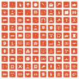 100 conference icons set grunge orange. 100 conference icons set in grunge style orange color isolated on white background vector illustration stock illustration