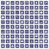 100 conference icons set grunge sapphire Royalty Free Stock Photo