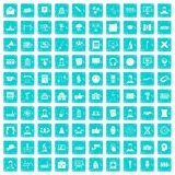 100 conference icons set grunge blue Royalty Free Stock Photography