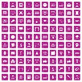 100 conference icons set grunge pink. 100 conference icons set in grunge style pink color isolated on white background vector illustration royalty free illustration