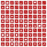 100 conference icons set grunge red. 100 conference icons set in grunge style red color isolated on white background vector illustration Royalty Free Stock Image