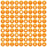 100 conference icons set orange. 100 conference icons set in orange circle isolated vector illustration Royalty Free Stock Images