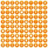 100 conference icons set orange. 100 conference icons set in orange circle isolated vector illustration Royalty Free Illustration