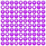 100 conference icons set purple. 100 conference icons set in purple circle isolated vector illustration Royalty Free Stock Image