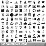 100 conference icons set, simple style Stock Photo