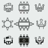 Conference icons set. Conference vector icons set. White illustration isolated for graphic and web design Stock Photography