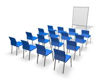 Conference indoor wih empty blue chairs and board Stock Photo