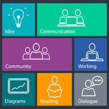Conference and management icons. Set to view the site Stock Image