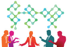 Conference meeting. Colorful illustration of conference meeting with men and women conversing in animated style with green and blue pattern symbolic of royalty free illustration