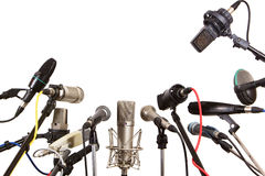 Conference meeting microphones prepared for talker stock photo