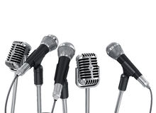 Conference meeting microphones prepared for talker. Royalty Free Stock Photo