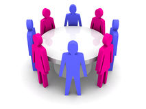 Conference of men and women. Concept 3D illustration Royalty Free Stock Image