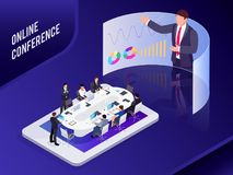 Isometric business concept. Conference online. Conference online. Isometric business concept. 3d businessmen sit at a large table and listen to a report Royalty Free Stock Photography