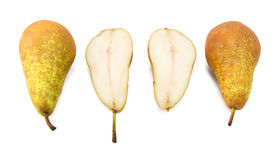 Conference pears - two whole, one cut in half Stock Photo