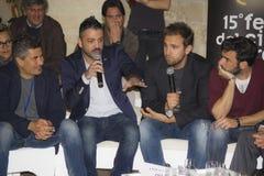 Conference with pio genova edoardo leo Royalty Free Stock Photo