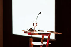 Conference presentation table Royalty Free Stock Image