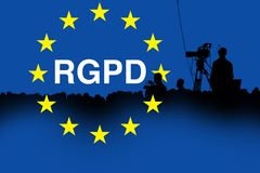 Conference production cameraman silhouette-rgpd Stock Image