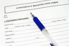 Conference Registratiion Form Stock Image