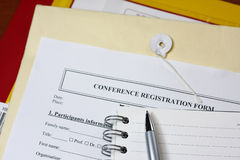 Conference registration form. Detail view of a typical adminitration conference registration form Stock Images