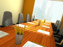 Conference room. 3D rendering of an empty meeting room Royalty Free Stock Photos