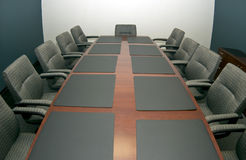 The Conference Room. A fisheye shot of a small conference room vacant of activity with copy space available stock images