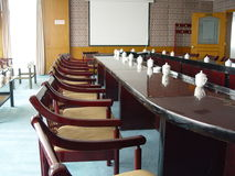 Conference Room. Teacups on the table in conference Room in china Stock Photo