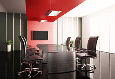 Conference room 3d. Conference room with lcd tv interior 3d render