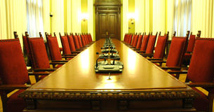 Conference room. With red chairs Royalty Free Stock Images