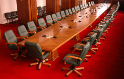 Conference room. With green chairs and red carpet Stock Images