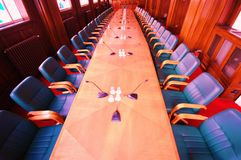 Conference room. With green chairs and red carpet Royalty Free Stock Image