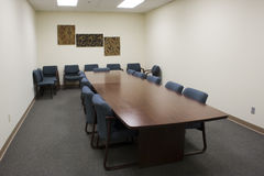 Conference Room. A conference room sits empty waiting for the meeting to start stock photos