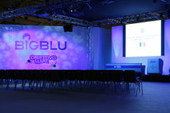Conference room at Big Blu 2012. An empty conference room at the Big Blu - 6TH EDITION FOR THE BOAT AND SEA EXPO OF ROME  in Rome, Italy for the dates of Royalty Free Stock Images