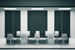 Conference room with black posters. Concrete conference room interior with empty black posters. Mock up, 3D Rendering Royalty Free Stock Images
