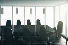 Conference room in black style with glassy table and chairs Royalty Free Stock Photo