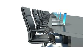 Conference room with black table, black chairs and laptops Stock Photography