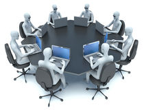 Conference room with black table and 3d man Stock Photos