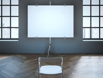 Conference room with blank screen and one chair. Royalty Free Stock Photography